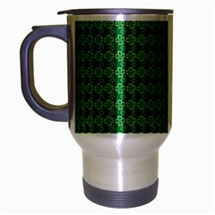 Clovers On Dark Green Travel Mug (silver Gray) by PhotoNOLA