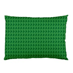 Clovers On Dark Green Pillow Case (two Sides) by PhotoNOLA