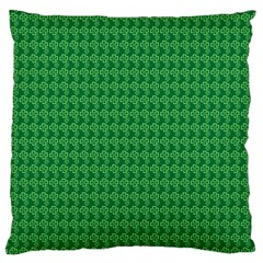 Clovers On Dark Green Large Cushion Case (two Sides) by PhotoNOLA