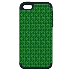 Clovers On Dark Green Apple Iphone 5 Hardshell Case (pc+silicone) by PhotoNOLA