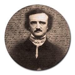 Edgar Allan Poe  Round Mousepads by Valentinaart