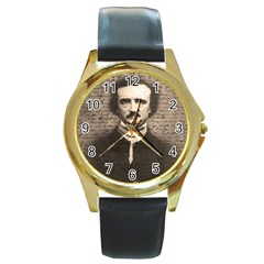 Edgar Allan Poe  Round Gold Metal Watch by Valentinaart