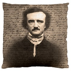 Edgar Allan Poe  Large Flano Cushion Case (two Sides) by Valentinaart