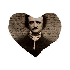 Edgar Allan Poe  Standard 16  Premium Flano Heart Shape Cushions by Valentinaart