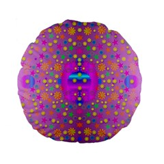 Colors And Wonderful Flowers On A Meadow Standard 15  Premium Flano Round Cushions by pepitasart
