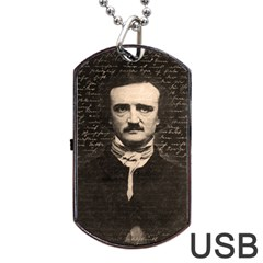Edgar Allan Poe  Dog Tag Usb Flash (two Sides) by Valentinaart