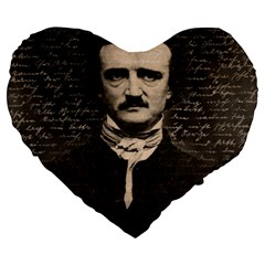 Edgar Allan Poe  Large 19  Premium Heart Shape Cushions by Valentinaart