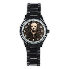 Edgar Allan Poe  Stainless Steel Round Watch by Valentinaart