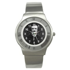 Edgar Allan Poe  Stainless Steel Watch by Valentinaart