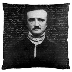 Edgar Allan Poe  Large Cushion Case (two Sides) by Valentinaart