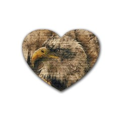 Vintage Eagle  Rubber Coaster (heart)  by Valentinaart