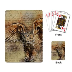Vintage Owl Playing Card by Valentinaart