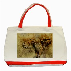 Vintage Owl Classic Tote Bag (red) by Valentinaart