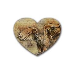 Vintage Owl Rubber Coaster (heart)  by Valentinaart