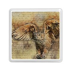 Vintage Owl Memory Card Reader (square)  by Valentinaart