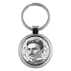 Nikola Tesla Key Chains (round)  by Valentinaart
