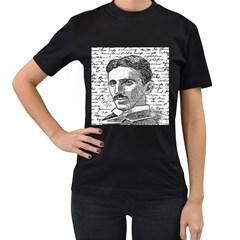 Nikola Tesla Women s T Shirt (black) (two Sided) by Valentinaart