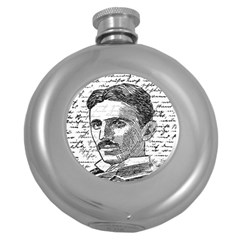 Nikola Tesla Round Hip Flask (5 Oz) by Valentinaart