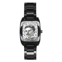 Nikola Tesla Stainless Steel Barrel Watch