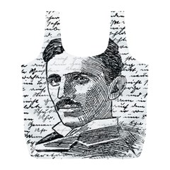 Nikola Tesla Full Print Recycle Bags (l)  by Valentinaart