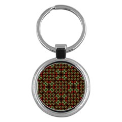 Asian Ornate Patchwork Pattern Key Chains (round)  by dflcprints