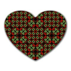 Asian Ornate Patchwork Pattern Heart Mousepads by dflcprints