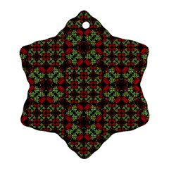 Asian Ornate Patchwork Pattern Snowflake Ornament (two Sides) by dflcprints