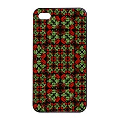 Asian Ornate Patchwork Pattern Apple Iphone 4/4s Seamless Case (black) by dflcprints