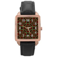 Asian Ornate Patchwork Pattern Rose Gold Leather Watch  by dflcprints