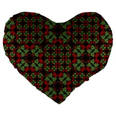 Asian Ornate Patchwork Pattern Large 19  Premium Flano Heart Shape Cushions by dflcprints