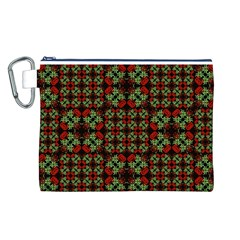 Asian Ornate Patchwork Pattern Canvas Cosmetic Bag (l) by dflcprints