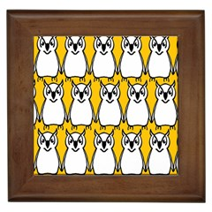 Yellow Owl Background Framed Tiles by Simbadda