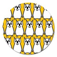 Yellow Owl Background Magnet 5  (round) by Simbadda