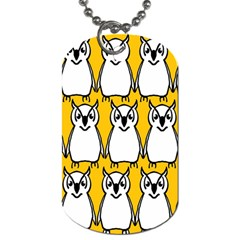 Yellow Owl Background Dog Tag (one Side) by Simbadda