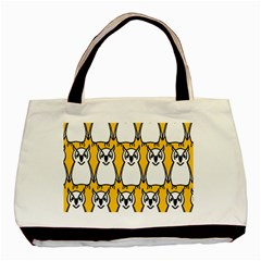 Yellow Owl Background Basic Tote Bag (two Sides) by Simbadda