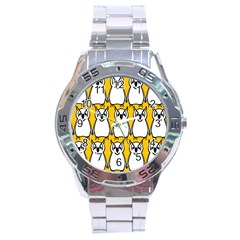 Yellow Owl Background Stainless Steel Analogue Watch by Simbadda