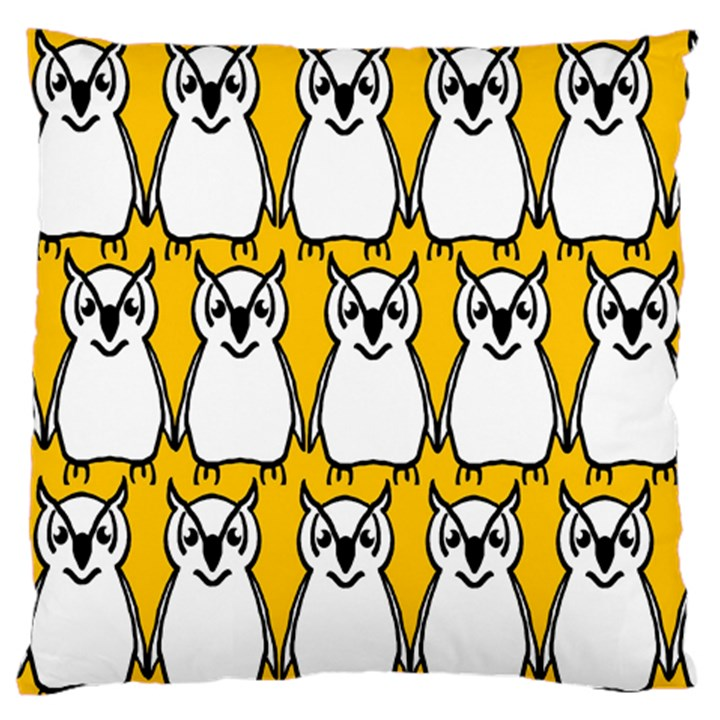 Yellow Owl Background Large Flano Cushion Case (Two Sides)