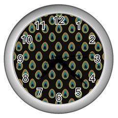 Peacock Inspired Background Wall Clocks (silver)  by Simbadda