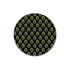 Peacock Inspired Background Magnet 3  (round) by Simbadda