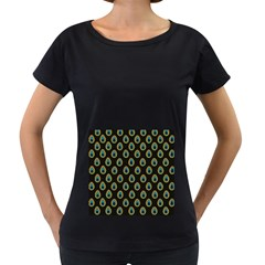 Peacock Inspired Background Women s Loose-Fit T-Shirt (Black) by Simbadda