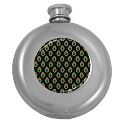 Peacock Inspired Background Round Hip Flask (5 Oz) by Simbadda