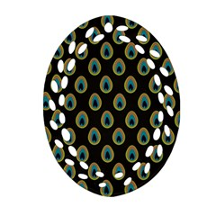 Peacock Inspired Background Oval Filigree Ornament (two Sides) by Simbadda