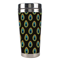 Peacock Inspired Background Stainless Steel Travel Tumblers by Simbadda