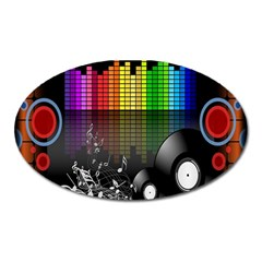 Music Pattern Oval Magnet by Simbadda
