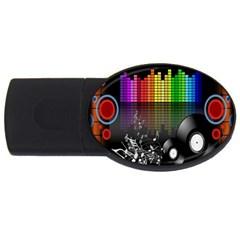 Music Pattern Usb Flash Drive Oval (4 Gb) by Simbadda