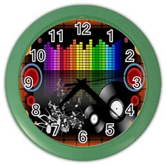 Music Pattern Color Wall Clocks by Simbadda