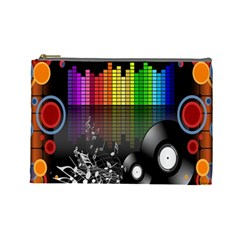 Music Pattern Cosmetic Bag (large)  by Simbadda