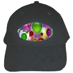 Colorful Bubbles Squares Background Black Cap by Simbadda
