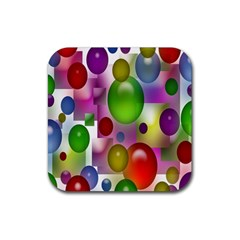 Colorful Bubbles Squares Background Rubber Square Coaster (4 Pack)  by Simbadda