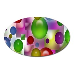 Colorful Bubbles Squares Background Oval Magnet by Simbadda